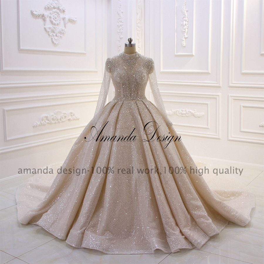 Image 5 - Платье Аманда с высоким воротом и длинным рукавом, блестящее Прозрачное платье для свадьбыСвадебные платья    АлиЭкспресс