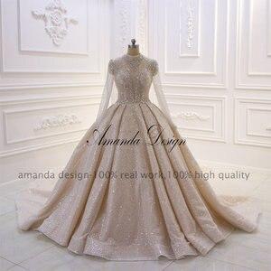 Image 5 - Amanda การออกแบบคอยาวแขนยาวหรูหราคริสตัลประดับด้วยลูกปัดเงาดูผ่านงานแต่งงานชุด