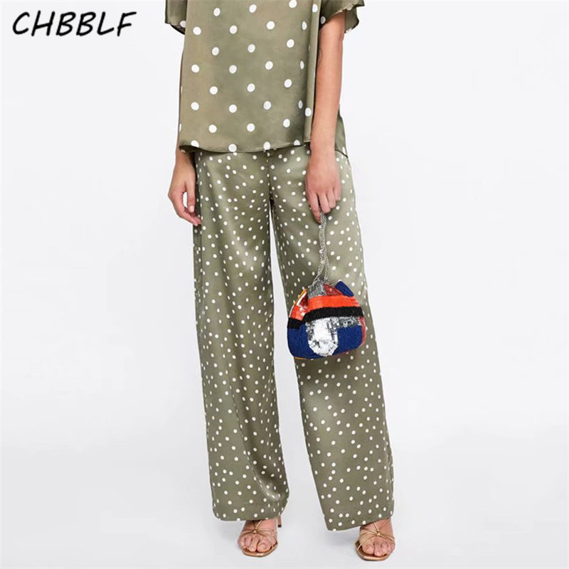 CHBBLF women elegant polka dot print   wide     legs     pants   zipper fly design ladies casual streetwear trousers POP1386