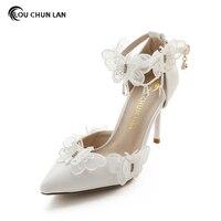 結婚式の靴白いレース蝶クリスタルペン