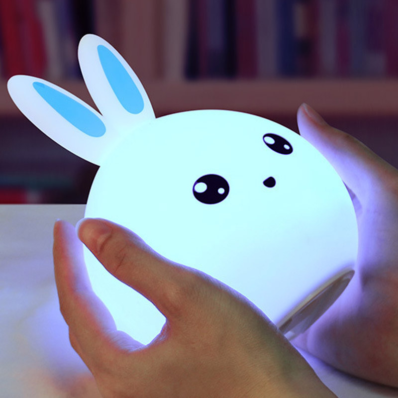2018 Silicon Touch πολύχρωμες λυχνίες υπνοδωματίου νυχτερινό φως καρτούν κουνέλι αφής λαμπτήρας ύπνου οδήγησε λαμπτήρα λαμπτήρα παιδιού φως αισθητήρα αφής