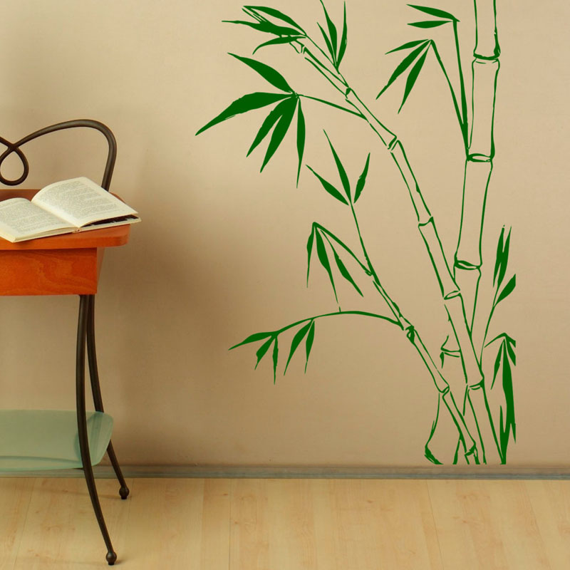 Nature Bamboo Leaves Wall Decals Stickers PVC Design Art Waterproof Wall  Sticker Home Decor Removable(