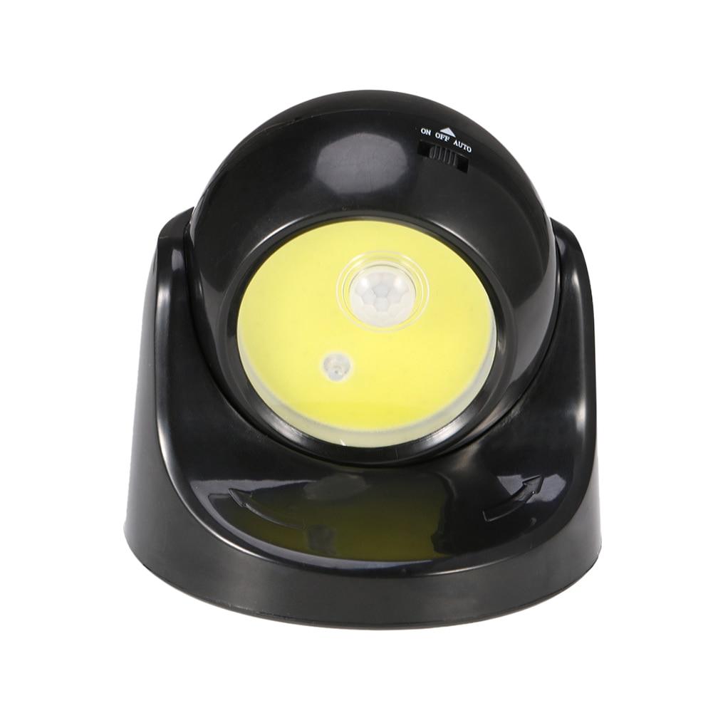 COB LED Night Light 360 Swivel Battery Powered Human Body Sensor Lamp for Garden Courtyard Stairs LB88