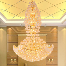 купить LED Gold Crystal Chandelier Lighting Fixture Modern K9 Crystal Chandeliers Home Hotel Restaurant Clubs Hanging Lights D1m*H1.5m дешево