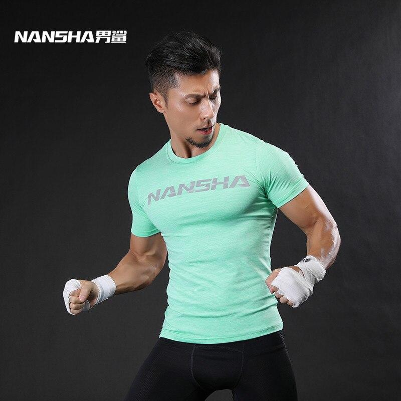 NANSHA Marca Moda Hombre Camiseta de fitness de manga corta Ropa de musculación Camisa slim fit Hombres Gimnasios Camiseta ajustada Ropa masculina
