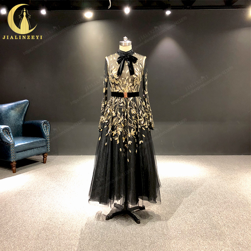 JIALINZEYI Real Picture Newest 2019 Black High Neck Long Sleeves With Gold Beads Tulle Velevt Prom Dresses Party Dresses 2019