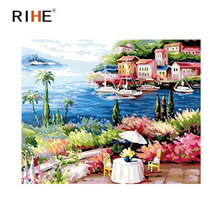 RIHE Seaside Villa Diy Painting By Numbers Abstract Boat Oil Painting On Canvas Cuadros Decoracion Acrylic Wall Picture For Room rihe seaside house diy painting by numbers abstract lighthouse oil painting on canvas cuadros decoracion acrylic wall picture
