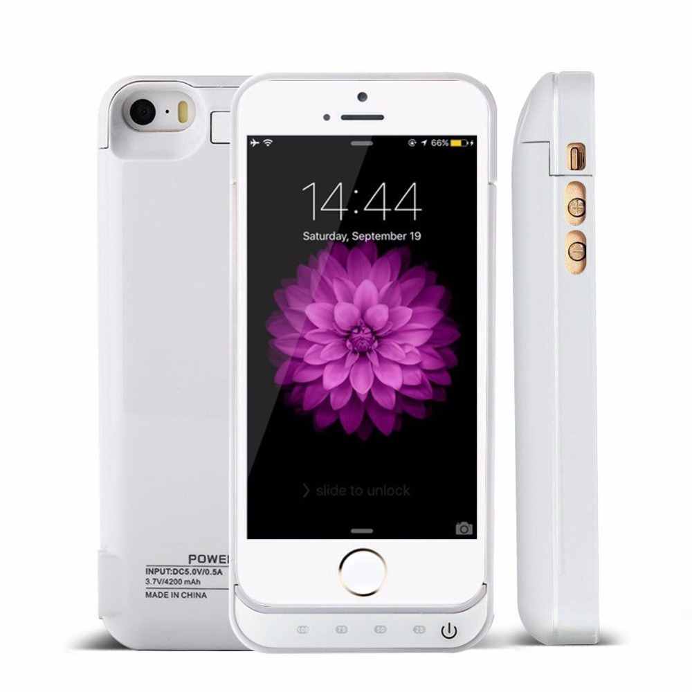 For iPhone 5 5S 5C SE Power Case 4200mAh Battery Charger Case Power Bank External Battery