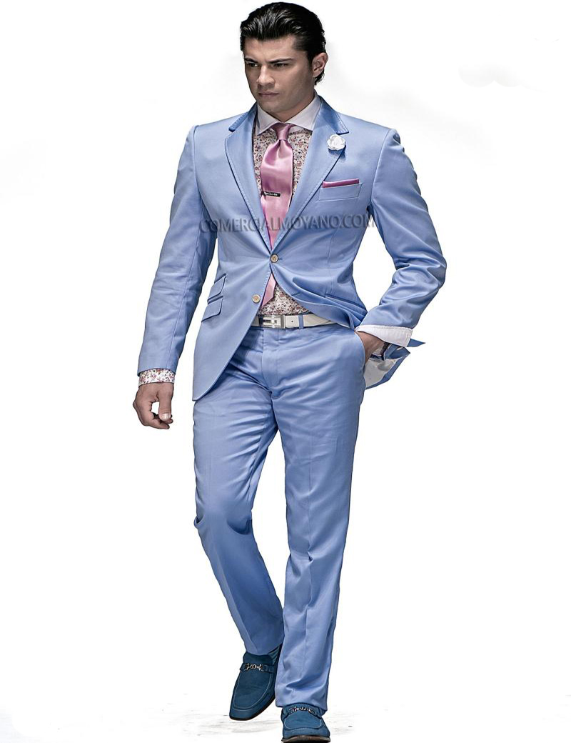 Men Light Blue Suit - Suit La