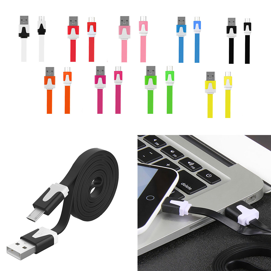 1M 2M 3M Noodle Flat Wire font b Android b font Charger Sync Data Micro USB