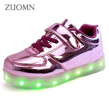 Kids Shoes Rodinha Basket LED Kids Light Up Shoes for Children Glowing Sneakers with wheels Led