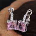 Free Shipping 1pair=2pcs Silver Pink Cubic Zirconia CZ Fashion Women's party jewelry Cute Hoop Earrings TG536
