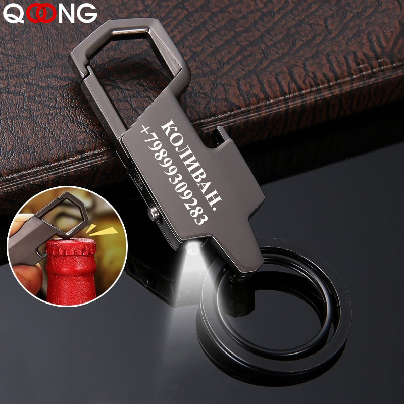 QOONG 2019 Men Black Metal Keychain Business Style LED Light Opener Multi-function Car Bag Key Chain For Men Keyring SMT01