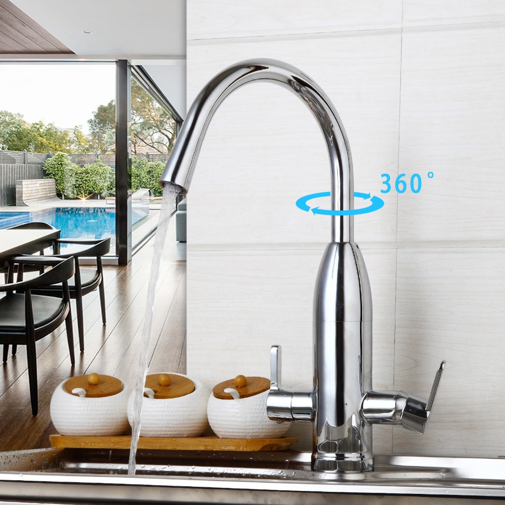 Kitchen&Canteen 2Lever Water purifier Faucet 360 Degree Swivel Rotated Mixer Tap Chrome Finish Hot&Cold Water Mixer Taps цена и фото
