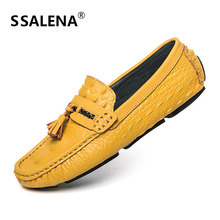 Mens Casual Leather Boat Shoes Comfortable Slip On Tassel Soft Moccasins Shoes Mens Non-Slip Driving Shoes AA11644