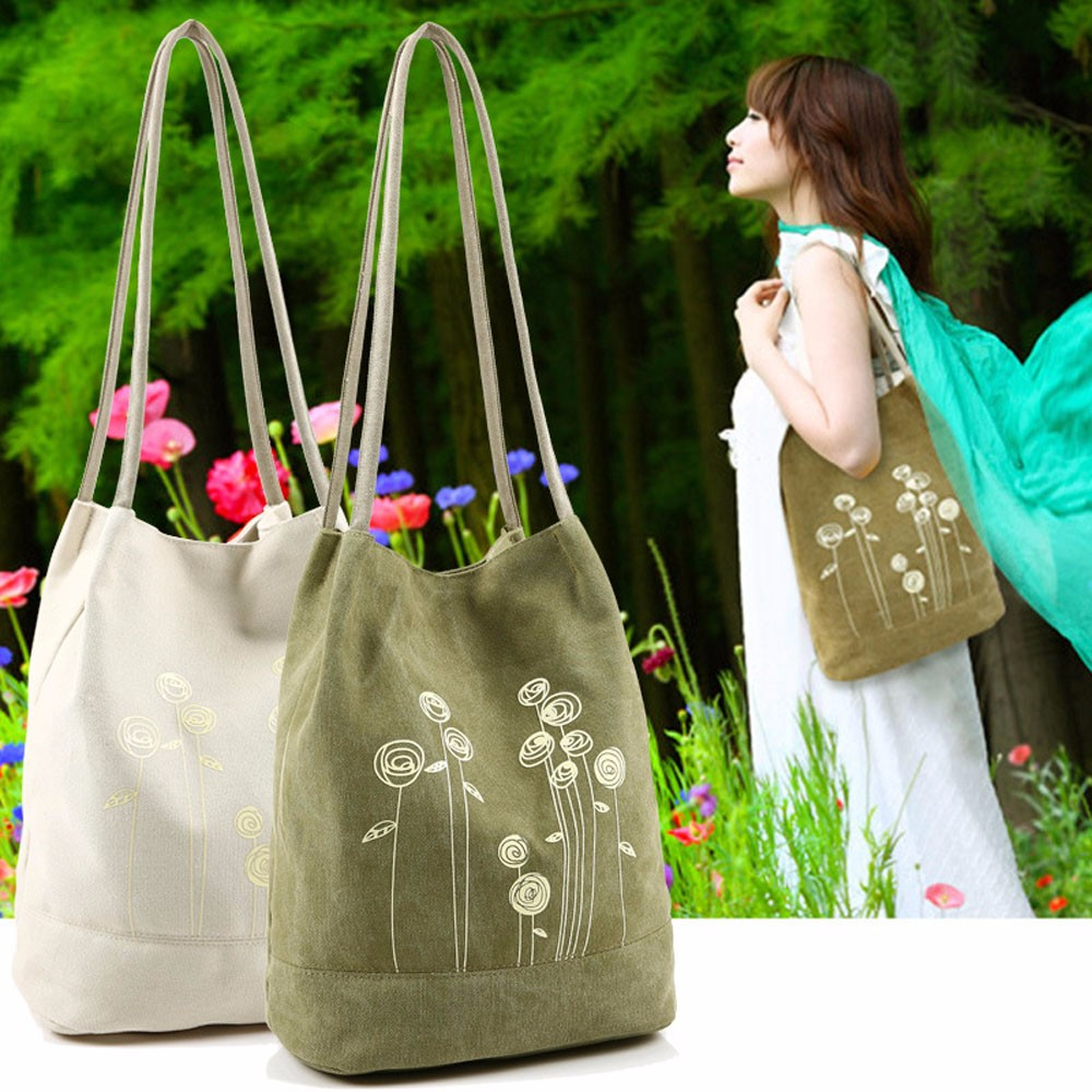 Xiniu Brands Simple Printing Shoulder Bag Canvas Handbags Bucket Ladies Floral Tote Clutch Bags