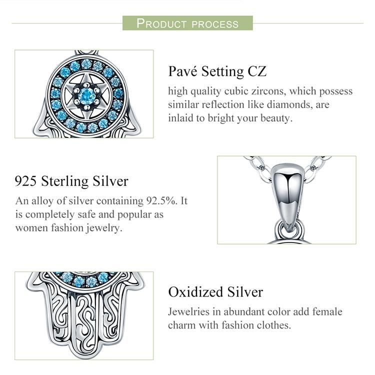 HTB1TAWgteOSBuNjy0Fdq6zDnVXaF BAMOER Genuine 925 Sterling Silver Trendy Fatima's Guarding Hand Pendant Necklaces Women Fine Silver Jewelry Gift SCN264