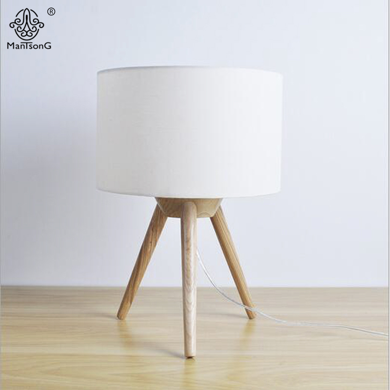 Nordic Style Tripod Table Lamp Wooden Metal Body Fabric Lampshade E27 AC 90V-260V For Living Room Bedroom Bedside Home Decor