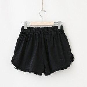Image 3 - Базовые потертые хлопковые шорты, женские однотонные широкие шорты, летние повседневные белые, черные