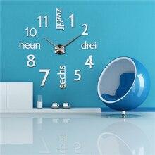 2015 new Quartz clocks fashion watches 3d big wall clock rushed mirror sticker diy modern design decor still life free shipping