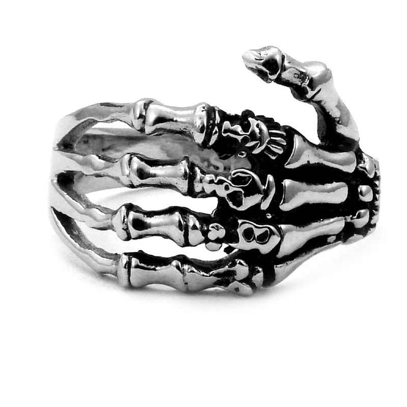 Sirius Mens Biker Tribe Gothic Stainless Steel Skull Skeleton Bone Hand Ring, Silver