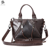 Women Oil Wax Genuine Leather Casual Women Handbag Large Shoulder Bags Women's Handbags Over The Shoulder Natural Leathe