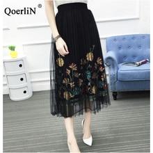 QoerliN Pleated Tulle Skirt Women School Skirts High Waist Korean Style Clothing White Fashion Black Mesh Girls