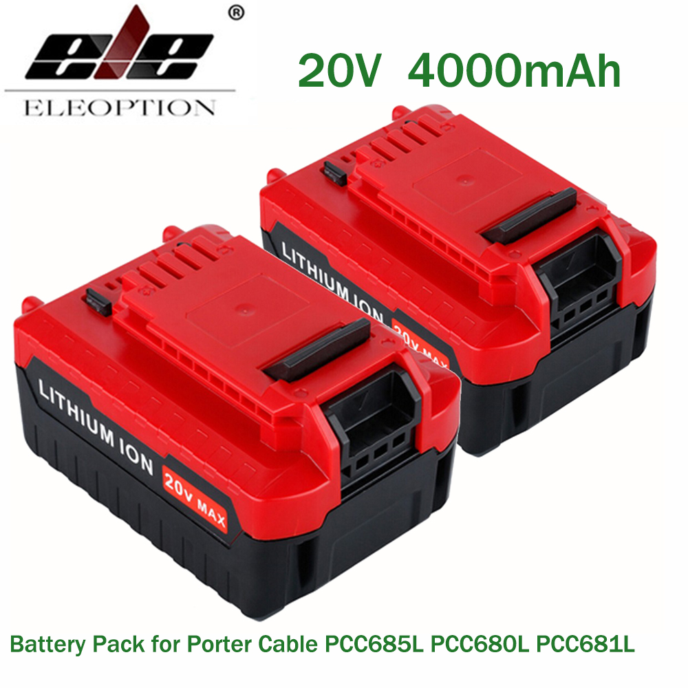ELEOPTION 2PCS 20V Max 4000mAh 4.0Ah Lithium Ion Rechargeable Battery Pack for Porter Cable PCC685L PCC680L PCC681L аксессуар защитное стекло для xiaomi mi a2 mi6x svekla full screen white zs svximia2 fswh