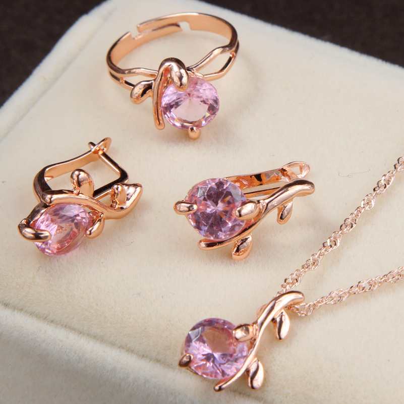 Elegant Gold Color Austrian Crystal Jewelry Set Pendants Necklaces Earrings Ring Rhinestone Bridal Jewelry Sets For Women 1