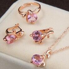 Pozlacený set šperků s růžovým krystalem – náušnice, prsten a řetízek
