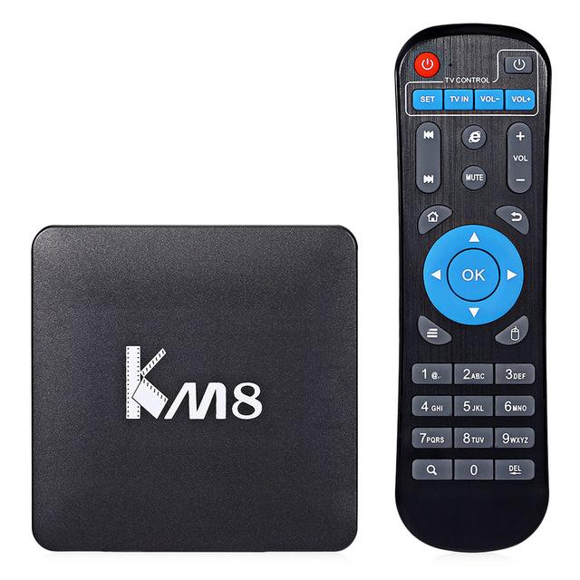 KM8 VP9 S905X TV BOX Amlogic Quad Core 4 K H.265 Decodificación Dual banda WiFi BT 4.0 Android Media Player EE. UU. REINO UNIDO de LA UE PLUG Set-top caja