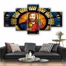 5 Pieces Of Jesus Christ Picture Painting Home Decor Canvas HD Print Poster Living Room Wall Art Decoration Modular Frame