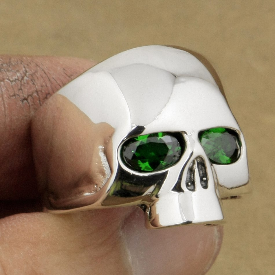 961e1036fe65 LINSION 925 Sterling Silver Polished Skull Ring Green CZ Eyes Mens Biker  Rock Punk Style 9G503 US Size 7 to 15-in Rings from Jewelry   Accessories  on ...