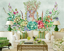 beibehang Classic personality American wallpaper retro pastoral hand painted more meat plant sofa TV background 3d