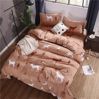 Coffee Color Deer Pattern Bed Linens Polyester Fiber Soft 4Pc Bedding Set Duvet Cover+Beds Sheet+Pillowcase Soft Comefortable