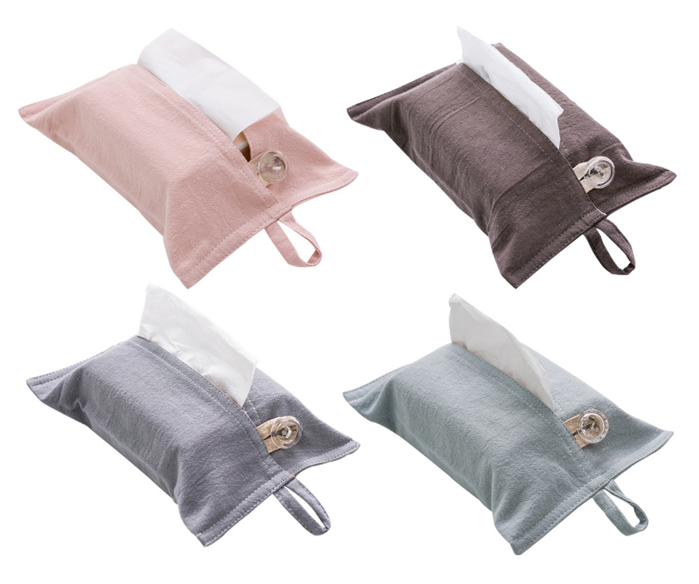 Cotton Crepe Solid Tissue Box Cover Set of 4 , Rectangle, Hanging Belt, Home Office Car Automotive Decoration,4 Colors