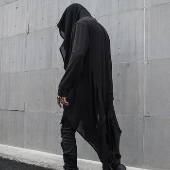 Spring Autumn Hooded Gothic cloak men Open stitch Halloween custom Punk rock Nightclub clothing Solid Black 1