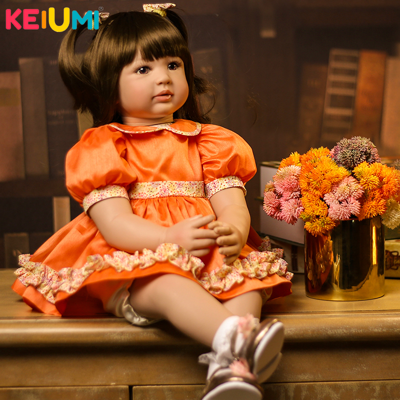 все цены на 22'' KEIUMI Baby Doll Toy Realistic Princess Silicone Reborn Baby Dolls PP Cotton Body Baby Reborn 55 cm For Girl Playmates Gift