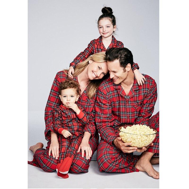 Christmas Family Pajamas Set Adult Kids Women Sleepwear Nightwear Long Sleeve Home Wear Printed Red Plaid new year Christmas Pjs