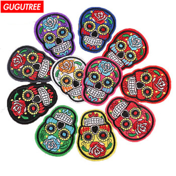 GUGUTREE embroidery patches skull patches badges patches embroidered appliques for denim jeans embroidery