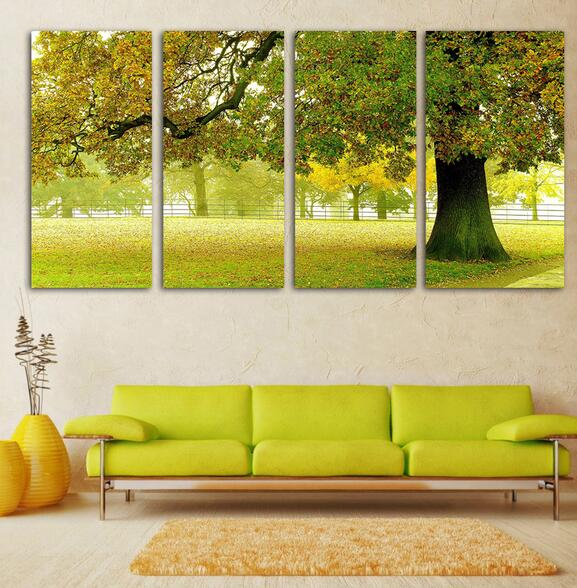 Ready to hang Wall Art Modern Picture 4 panels autumn huge tree ...