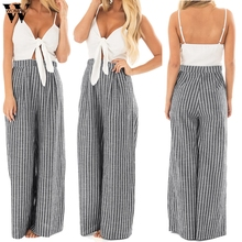 Womail bodysuit Women Summer Fashion Bowknot Sleeveless Striped Print Jumpsuit C