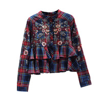 2019 New Spring Clothing Women Vintage Embroidery Plaid Shirt For Women Web Celebrity Girl Shirt Cotton S,M,L, A250