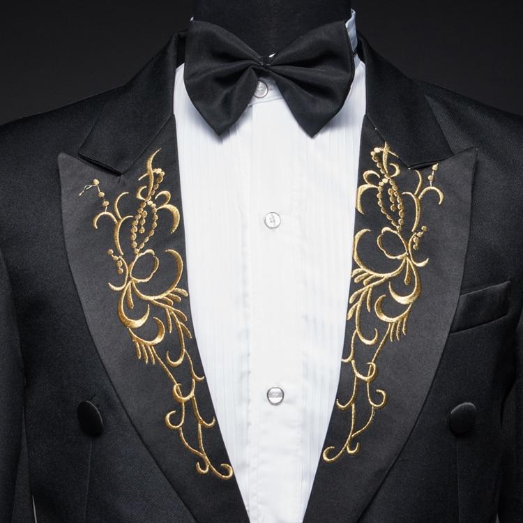 Chanteur Étoiles Et Costume Pantalon Hôte Smoking Danseur Scène veste Thème Pour Discothèque Blanc Noir Spectacle Studio L'homme En Vêtements wHxq6Fp