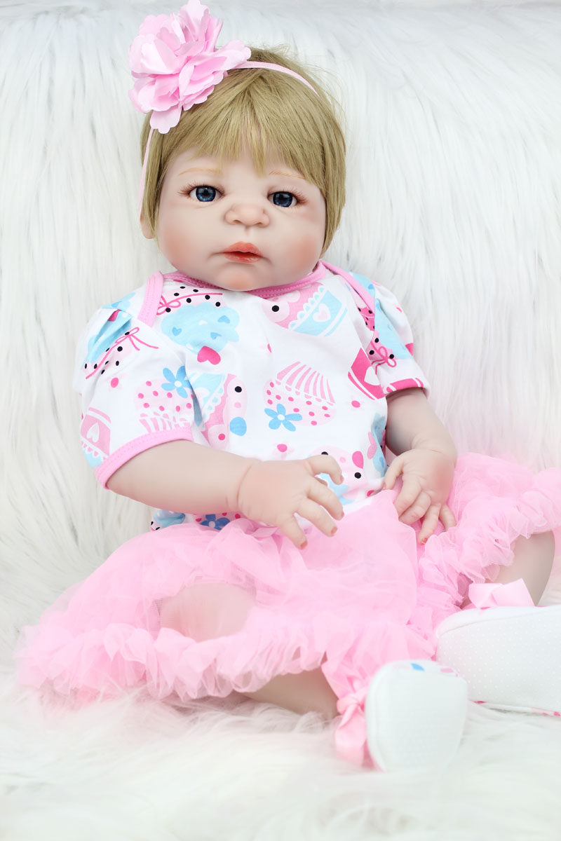 55cm Full Silicone Body Reborn Baby Doll Toy Lifelike Newborn Princess Girls Babies Doll Fashion Birthday Gift Xmas Present Bath 40cm silicone reborn baby doll toy 16inch newborn princess girls babies dolls birthday xmas gift girls bonecas play house toy