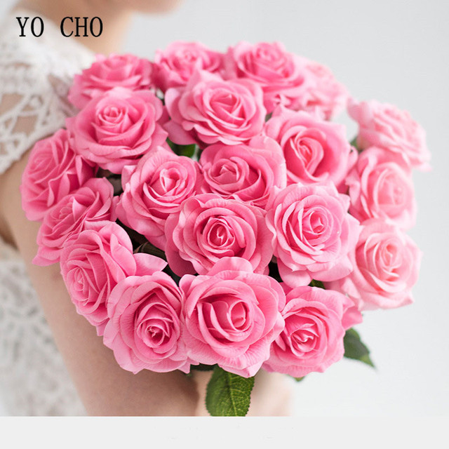 Yo cho real touch rose artificial flower white pink silk flower yo cho real touch rose artificial flower white pink silk flower bouquet artificial rose flowers wedding mightylinksfo