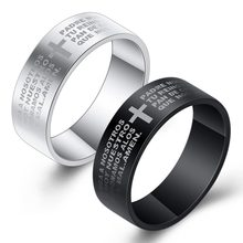 Fashion Scripture Cross Rings For Men Engraved Bible Stainless Steel Finger Ring 7mm Classic Black And Steel Color Jewelry Gift(China)