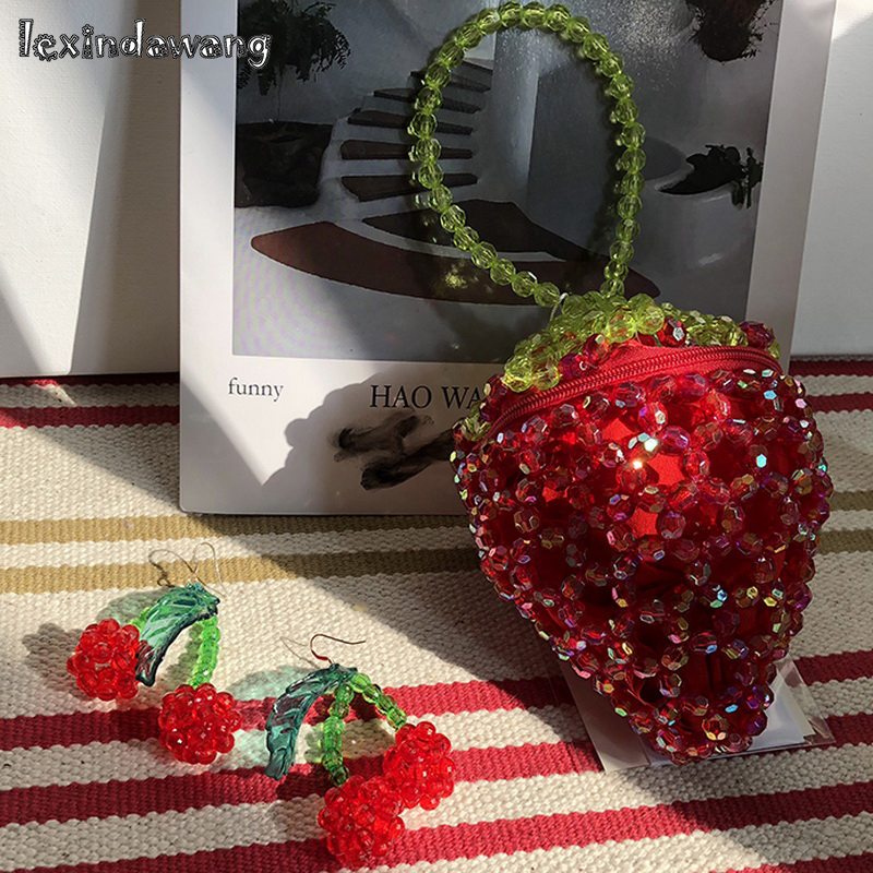 Strawberry Coin Purse Novelty Beaded Handbags Tiny Mini Kawaii Cute Girls Clutches Wallet Lady Evening Bags Purse Red Dropship