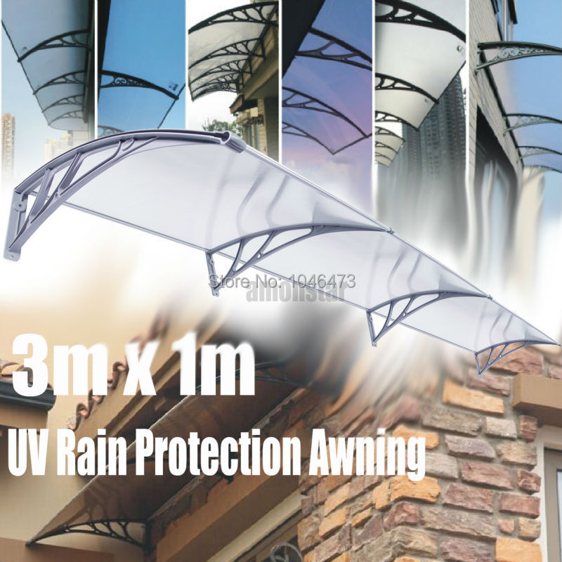 (Ship from USA) 2PCS Ridgeyard 1x3m DIY Door Window Awning Sun Shield Patio Cover Sunshade polycarbonate awning