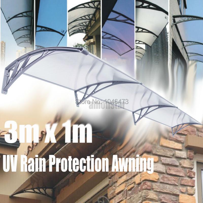 (Ship from USA) Ridgeyard 1x3m DIY Door Window Awning Sun Shield Patio Cover Sunshade polycarbonate awning yp100480 alu 100x480cm mountainnet 1m x 4 8m uv rain protection awning polycarbonate outdoor awning patio cover